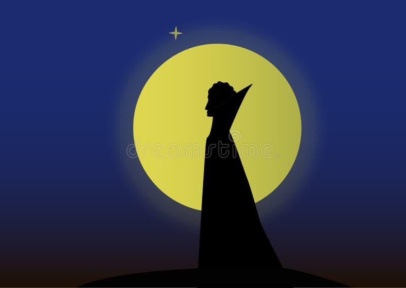 Schattenbild eines Vampirsmannes im Hintergrund des Mondes vektor abbildung