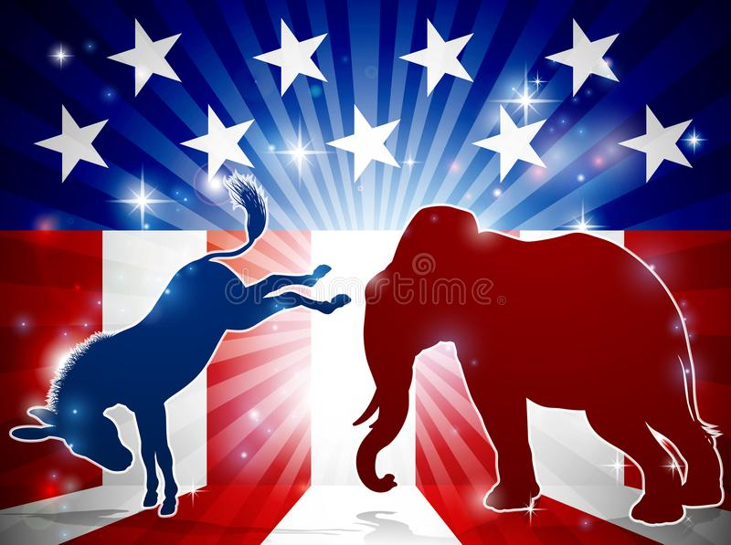 Schattenbild-Elefant-kämpfender Esel lizenzfreie abbildung