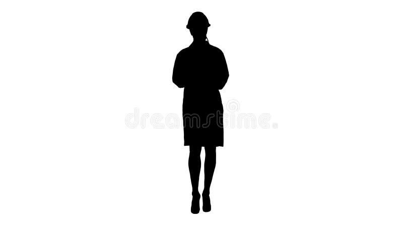Schattenbild-Fraueningenieur, der das Checklistengehen schreibt lizenzfreie stockbilder