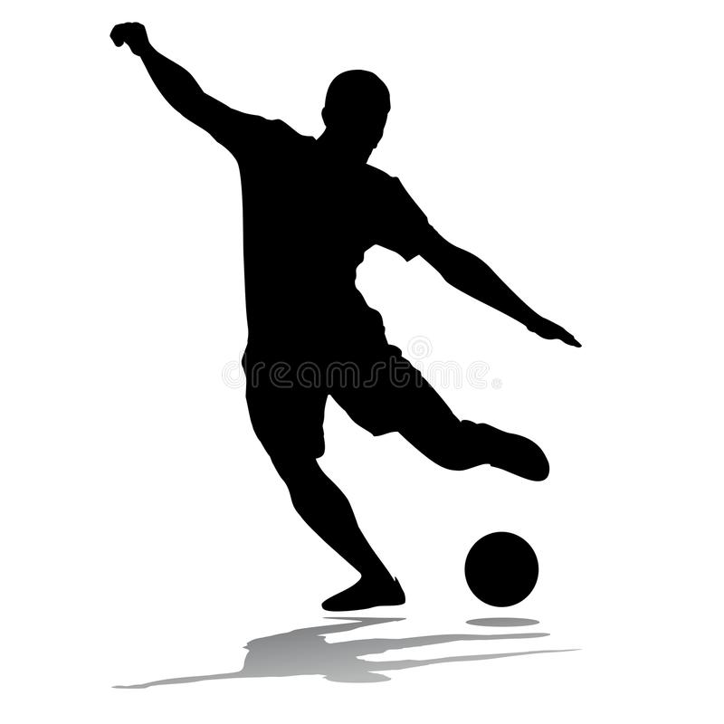 Schattenbild-Fußball-Spieler vektor abbildung