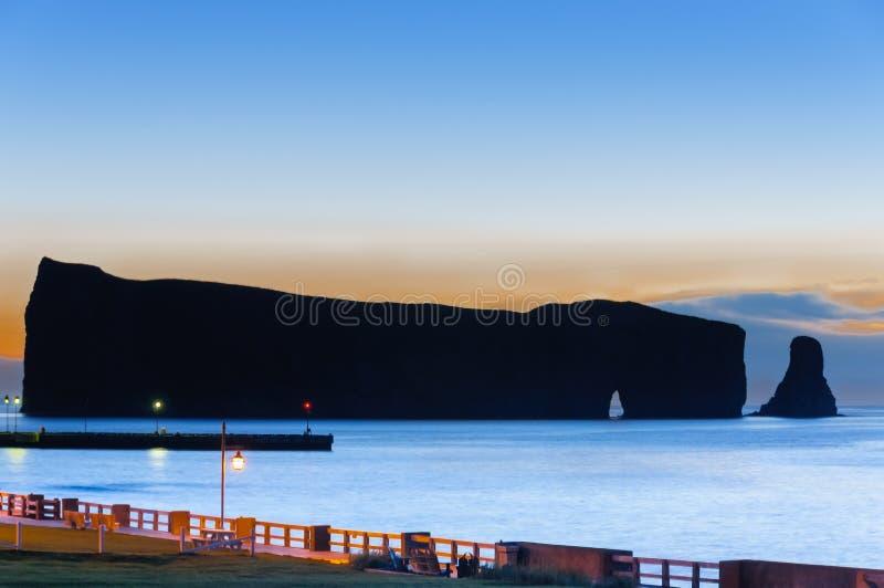 Schattenbild Gaspe Perce Rock stockbild