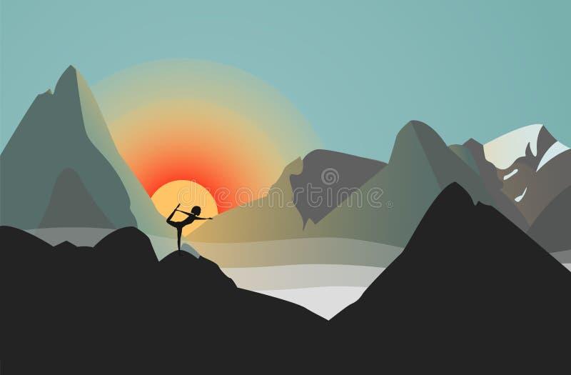 Schattenbild gegen die Sonne Frauen-übendes Yoga in den Bergen Sie steht in Natarajasana-Position vektor abbildung