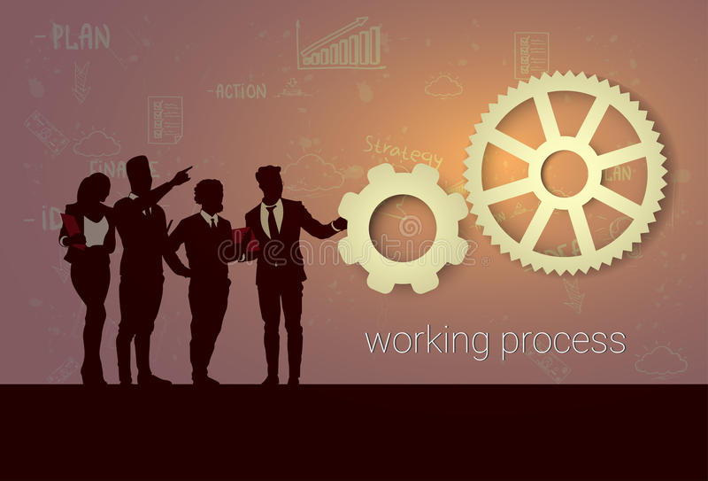 Schattenbild-Geschäftsleute Team Meeting Working Process Seminar-Trainings-Konferenz-Brainstorming- vektor abbildung