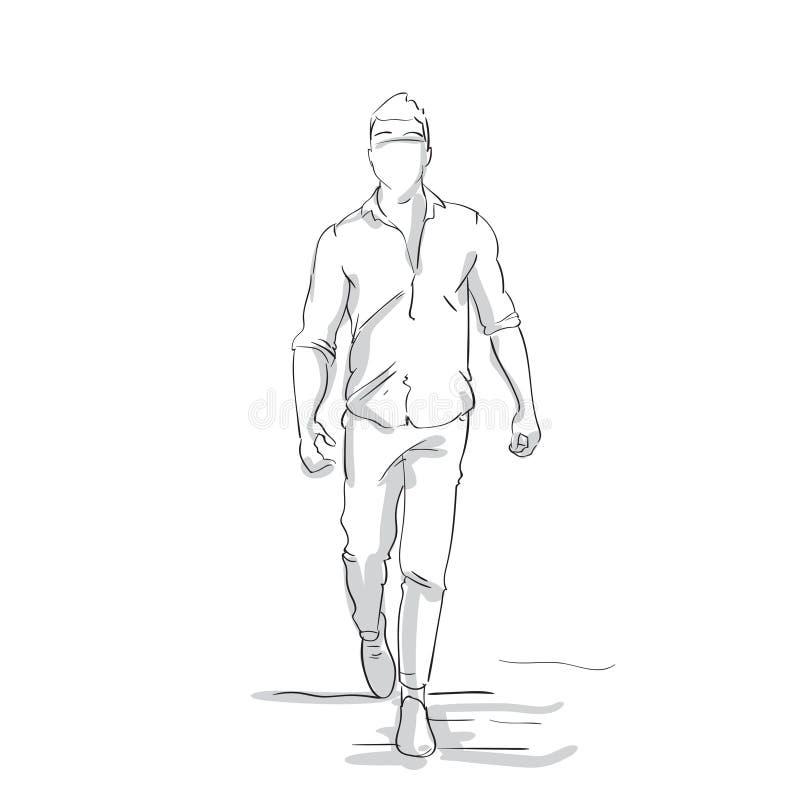 Schattenbild-Geschäftsmann, der Schritt- nach vornskizzen-Geschäftsmann Full Length Figure auf weißem Hintergrund macht lizenzfreie abbildung