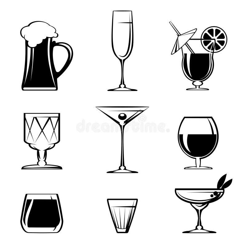 Schattenbild-Getränkeglasikonen auf Weiß lizenzfreie abbildung