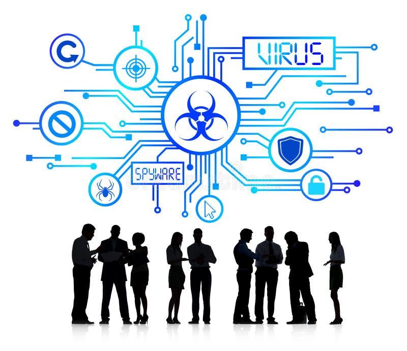 Schattenbild-Gruppe Geschäftsleute mit Virus-Konzept lizenzfreie stockfotos