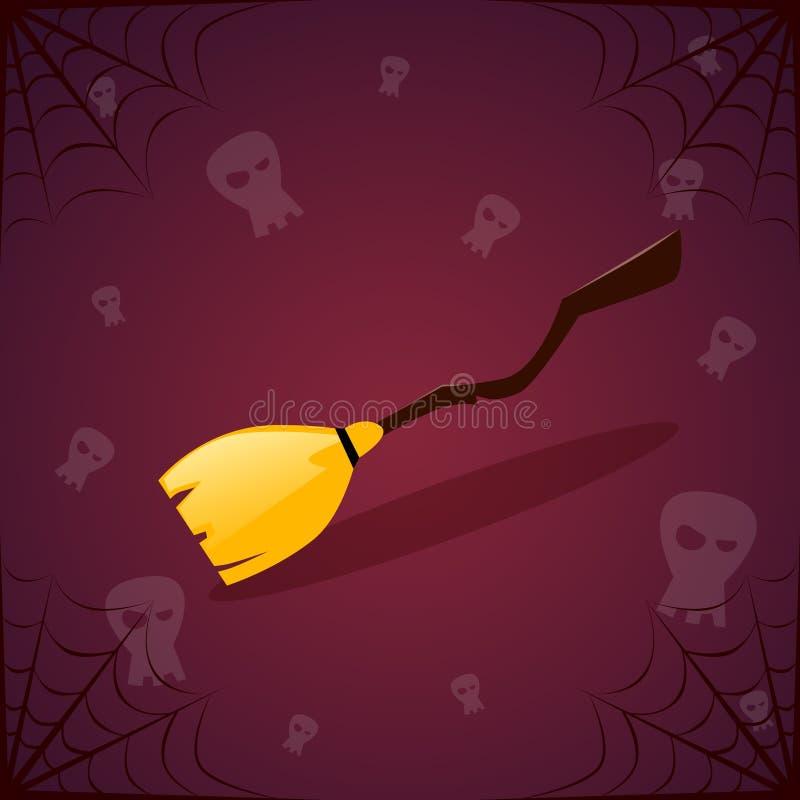 Schattenbild-Hexen-Besenstiel-und Schädel-glückliche Halloween-Fahne lizenzfreie abbildung