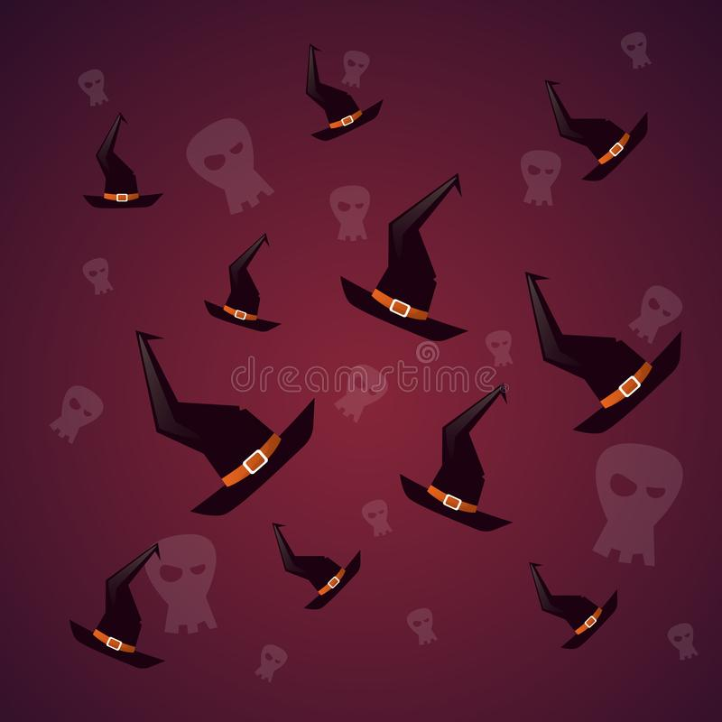 Schattenbild-Hexen-Hüte und Schädel-glückliche Halloween-Fahne lizenzfreie abbildung