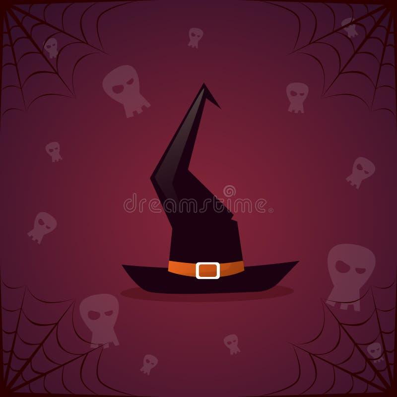 Schattenbild-Hexen-Hut-und Schädel-glückliche Halloween-Fahne stock abbildung