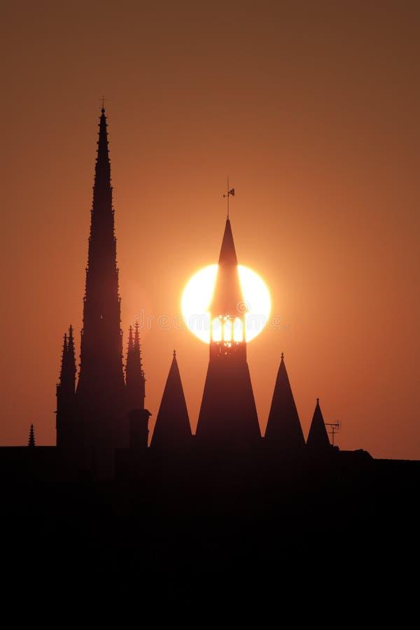 Schattenbild im Bordeaux stockfotografie