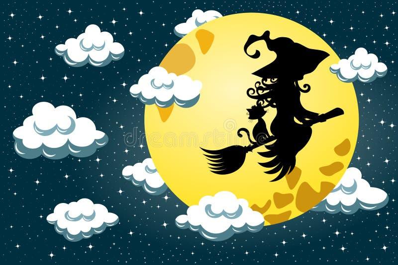 Schattenbild-junges Hexen-Schwarzes Cat Flying Broom Night lizenzfreie abbildung