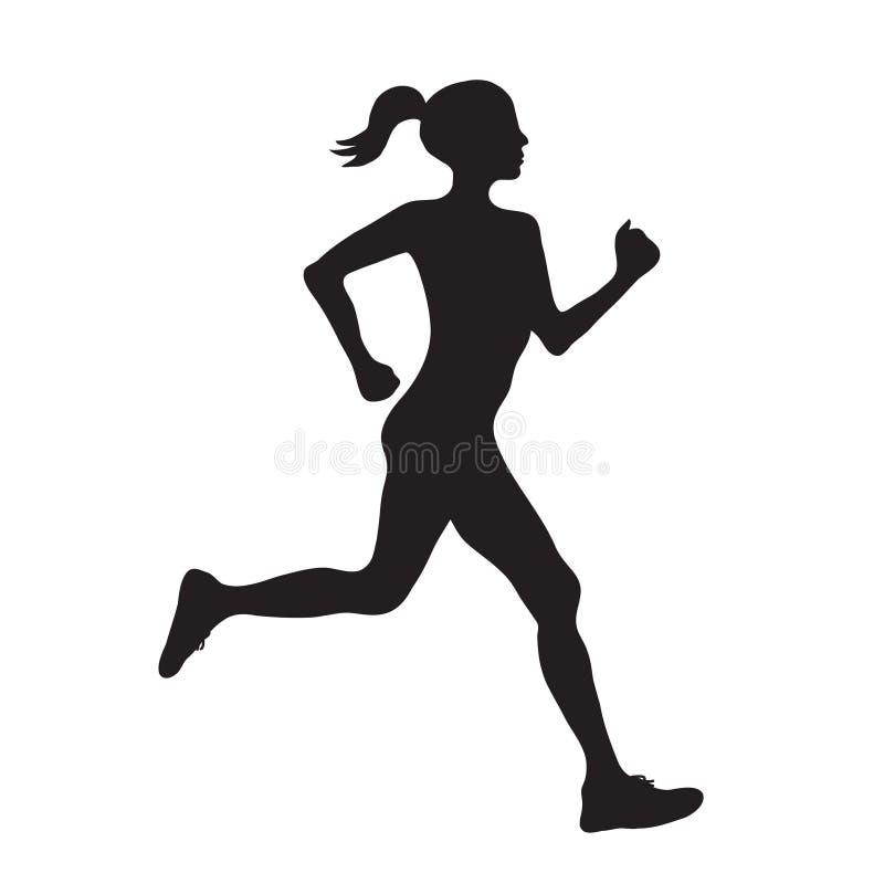 Schattenbild laufendes Frau profilec einfacher schwarzer Ikone, Vektor e vektor abbildung
