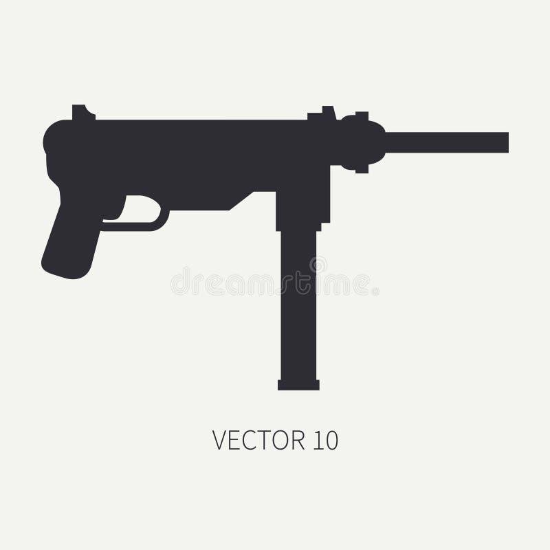 Schattenbild Linie Militärikone des flachen Vektors - Maschinengewehr Armeeausrüstung und -bewaffnung Legendäre Retro- Waffe kari lizenzfreie abbildung