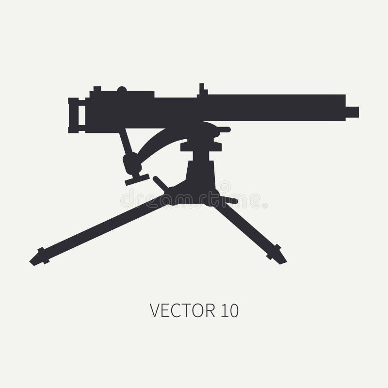 Schattenbild Linie Militärikone des flachen Vektors - Maschinengewehr Armeeausrüstung und -bewaffnung Legendäre Retro- Waffe kari vektor abbildung
