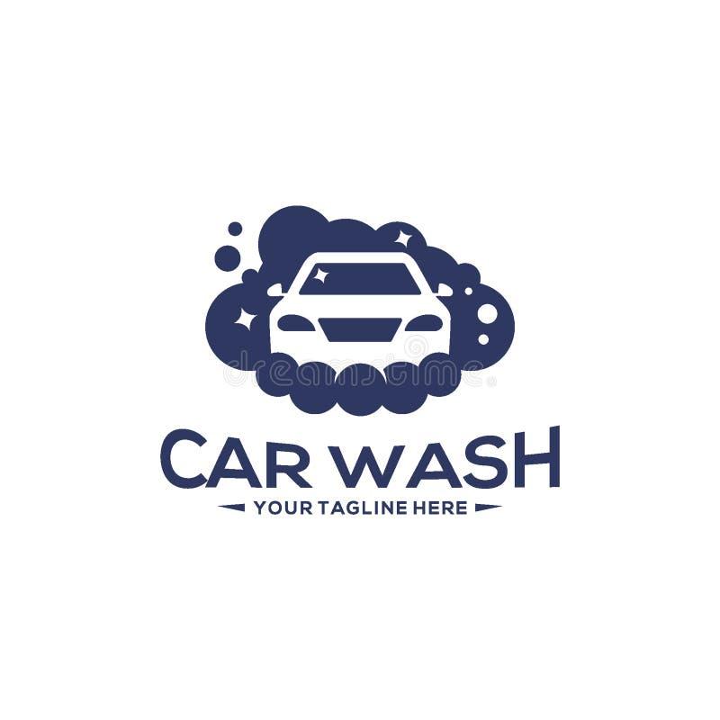 Schattenbild-LogoKonzept des Entwurfes Waschanlagelogo-Vektorschablone stock abbildung