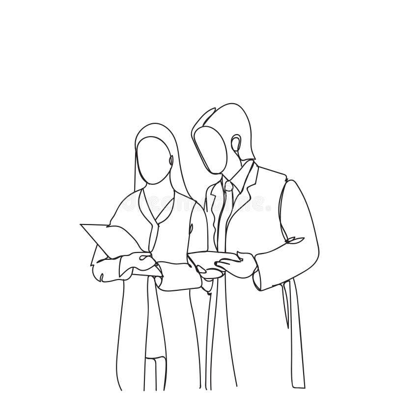 Schattenbild-Mann-und Frauen-Wissenschaftler in den weißen Mänteln das Dokumentanalyse-Gekritzel-Forscher-Arbeiten lesend stock abbildung