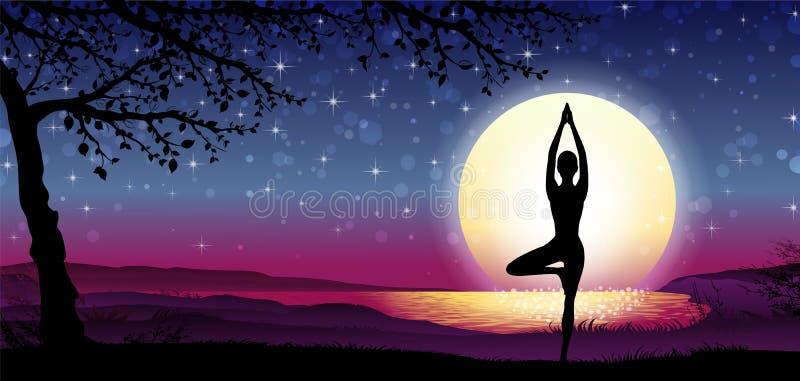 Schattenbild-Meditation mit Natur lizenzfreie stockbilder