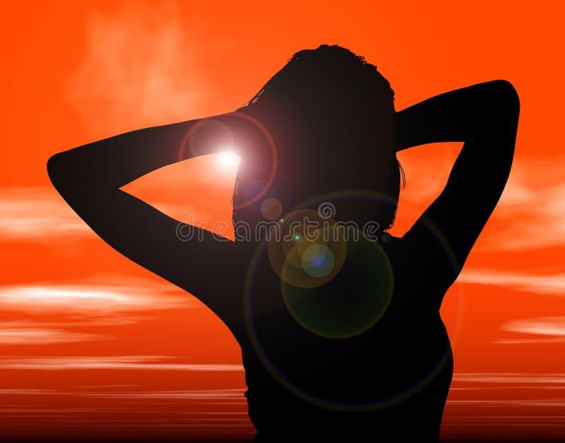 Schattenbild mit Ausschnitts-Pfad der Frau gegen Sonnenuntergang lizenzfreie abbildung
