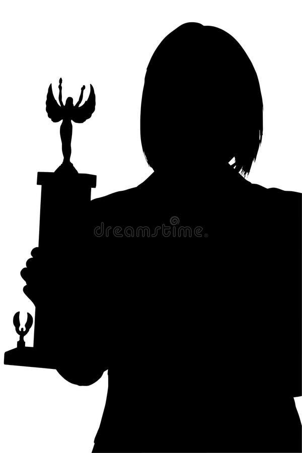Schattenbild mit Ausschnitts-Pfad der Frau mit Trophäe lizenzfreie stockbilder