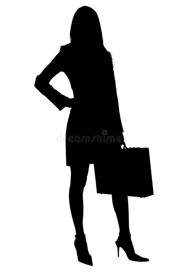 Schattenbild mit Ausschnitts-Pfad der Geschäftsfrau mit Aktenkoffer lizenzfreie abbildung