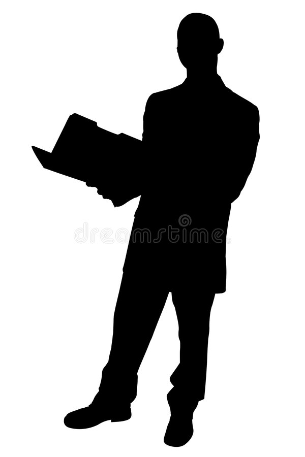 Schattenbild mit Ausschnitts-Pfad des Geschäftsmannes mit Faltblättern lizenzfreie abbildung