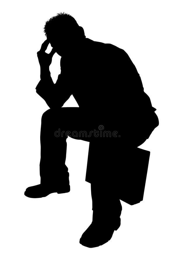 Schattenbild mit Ausschnitts-Pfad des Mann-Denkens lizenzfreie abbildung