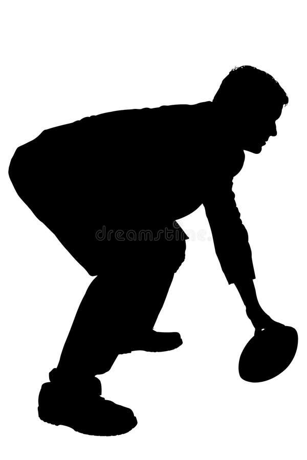 Schattenbild mit Ausschnitts-Pfad des Mannes im Anzug mit Footb lizenzfreie abbildung