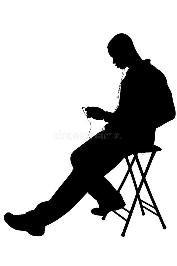 Schattenbild mit dem Ausschnitts-Pfad des Mannes hörend zu den Kopfhörern stock abbildung