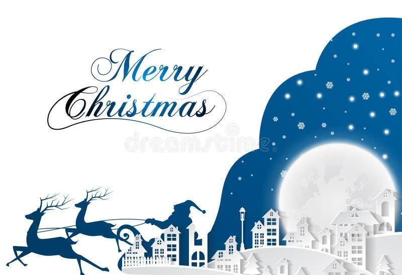 Schattenbild mit Santa Claus und Tasche voll von Geschenken auf Winterhintergrund Karikaturszene Beschriftung von frohen Weihnach lizenzfreie abbildung