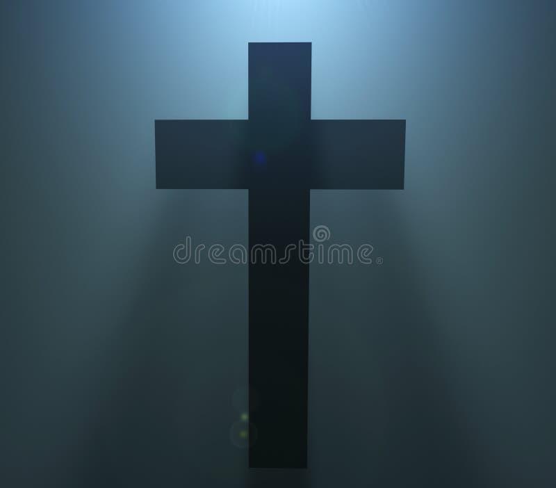 Schattenbild Ostern Christian Cross lizenzfreie abbildung