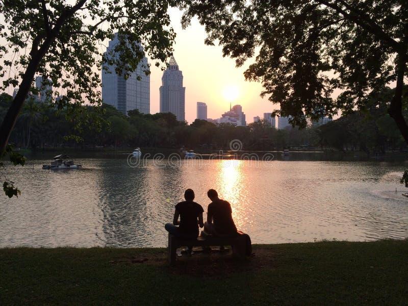 Schattenbild-Paar-Datierung im Park-aufpassenden Sonnenuntergang durch den See stockfotos
