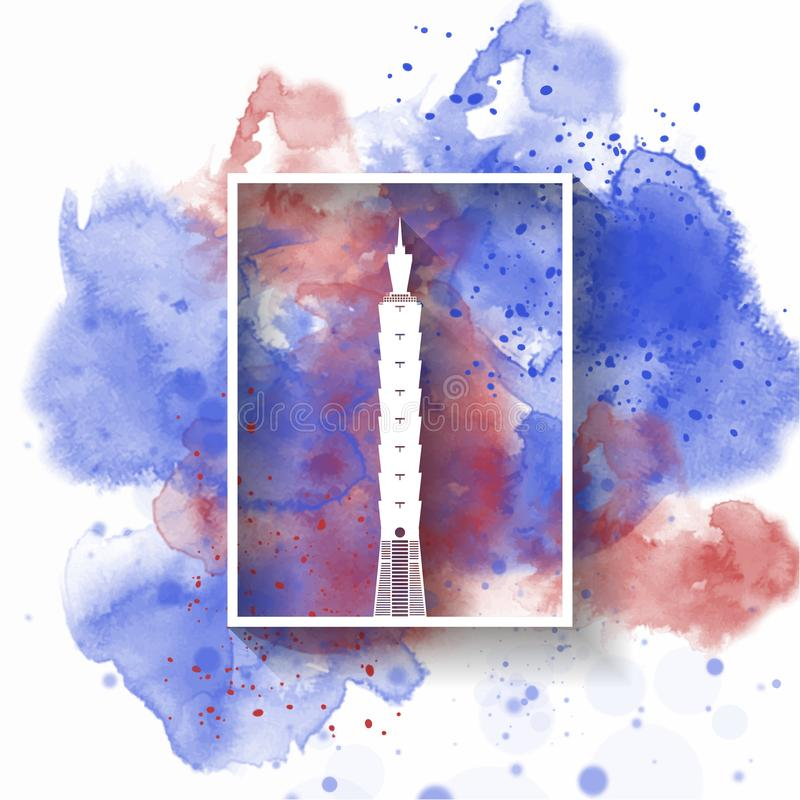 Schattenbild-Papier von Taiwan auf dem Spritzenaquarell in der Farbe der globalen Flagge Nett, als Teil Ihrer Auslegung zu verwen lizenzfreie abbildung