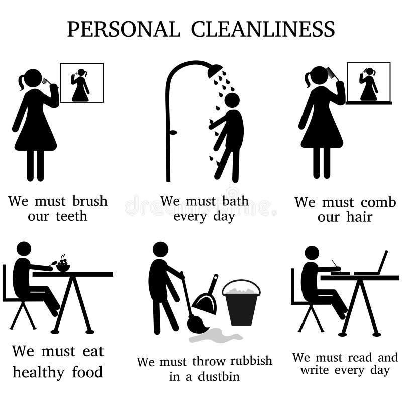 Schattenbild-persönliche Sauberkeit, bürstend und baden, Kämmen und essen, Reinigung und lesen vektor abbildung