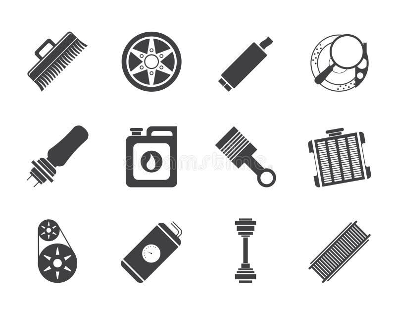 Schattenbild-realistische Auto-Teil- und Service-Ikonen stock abbildung