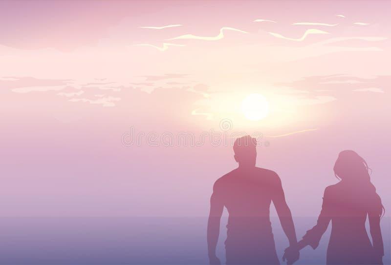 Schattenbild-romantisches Paar-Händchenhalten an den Sonnenuntergang-Liebhabern Mann und am Frauen-Kopien-Raum vektor abbildung