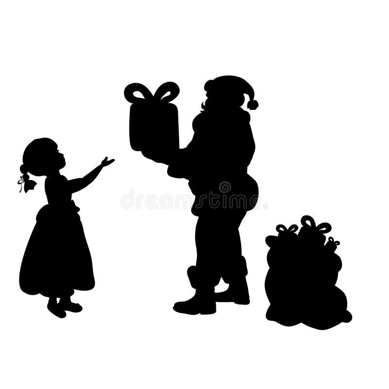 Schattenbild Santa Claus, die Mädchengeschenk gibt stock abbildung