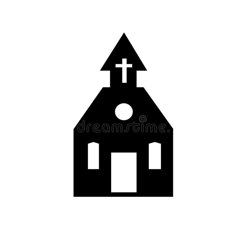 Schattenbild-Vektorikone der Kirche lokalisierte schwarze auf weißer Hintergrund Gebäude-Zeichenillustration modische flache Art  lizenzfreie abbildung