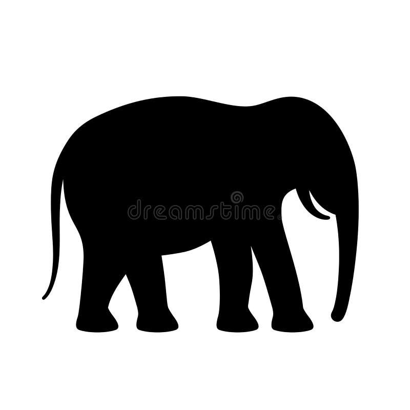 Schattenbild-Vektorikone des Elefanten schwarze stock abbildung