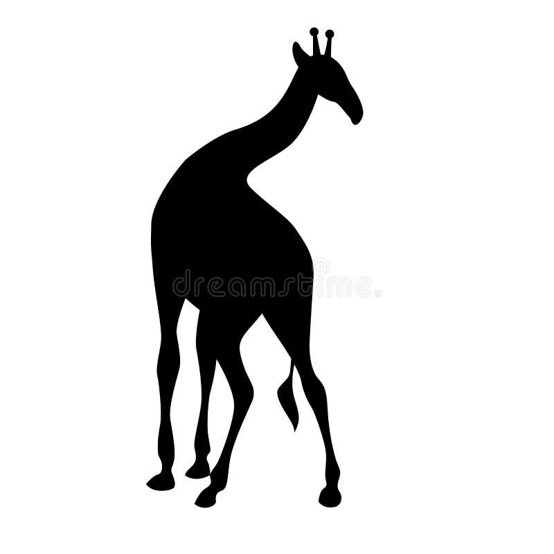 Schattenbild-Vektorillustration der Giraffe schwarze vektor abbildung