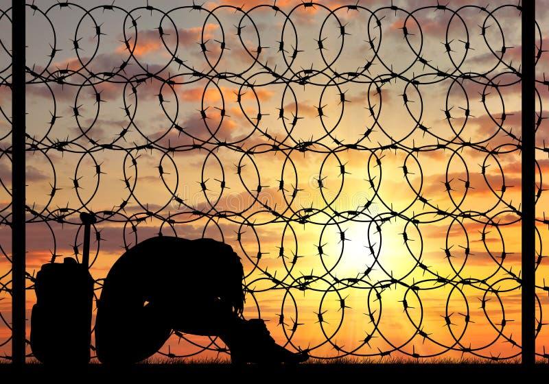 Schattenbild-Verzweiflungsflüchtlingsfrau stockfotos