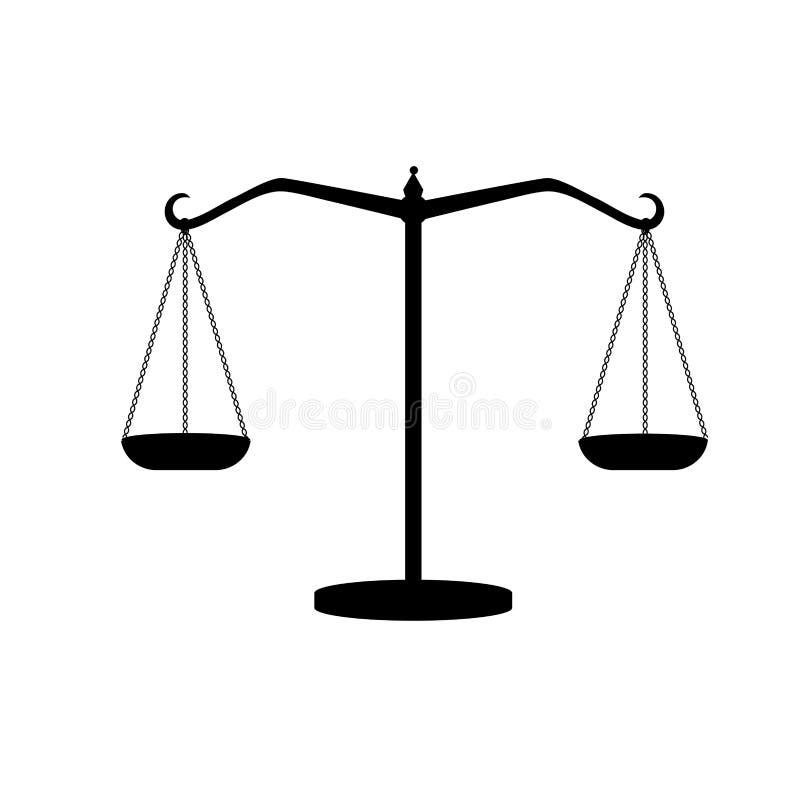 Schattenbild von antiken Gewichten Waage Skalen von Gerechtigkeit vektor abbildung
