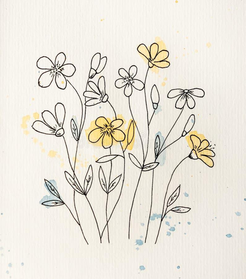 Schattenbild von Blumen mit Tropfen stockfotografie