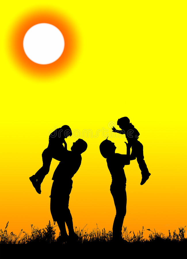 Schattenbild von den Eltern und von Kindern, die den Spaß verbringt Zeit haben vektor abbildung