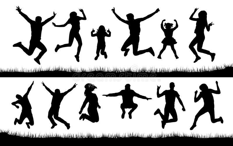 Schattenbild von den Leuten, die auf das Gras springen vektor abbildung