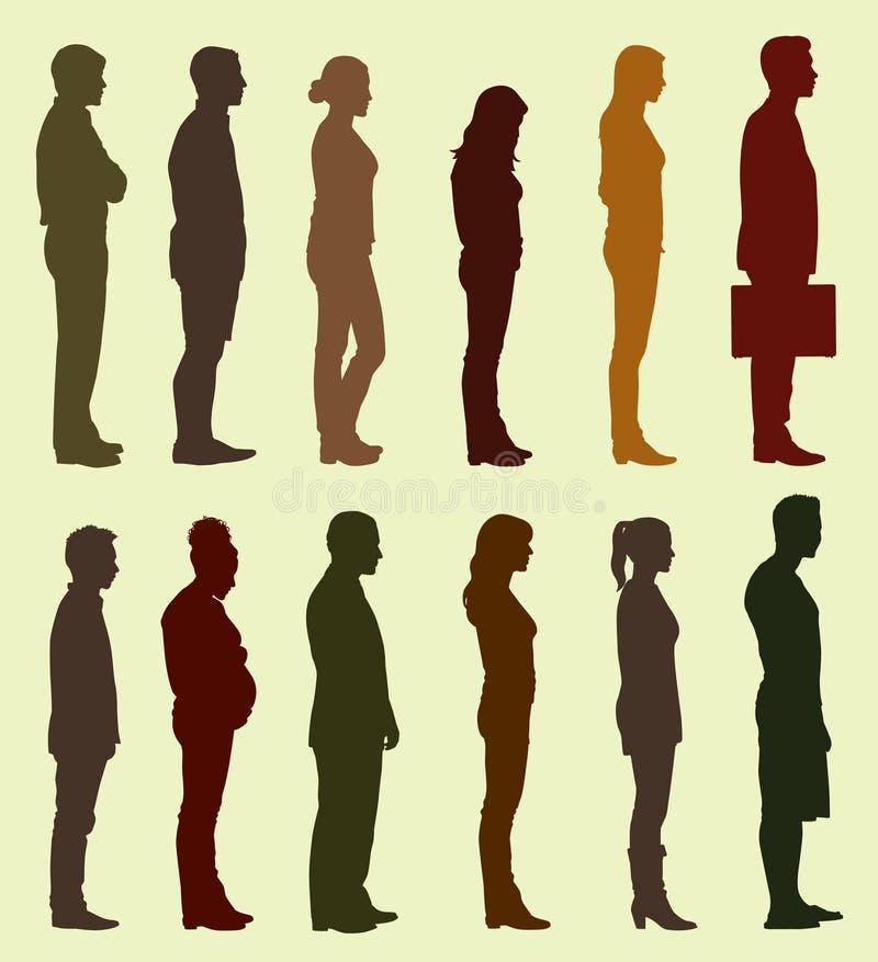 Schattenbild von den Leuten, die in Linie warten stock abbildung