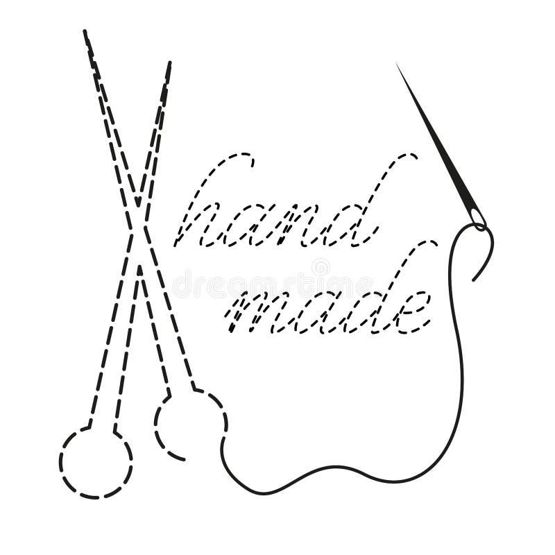 Schattenbild von den Stricknadeln und von Wörtern handgemacht mit unterbrochener Kontur Vektorillustration mit Stickgarn und Nade stockfotografie