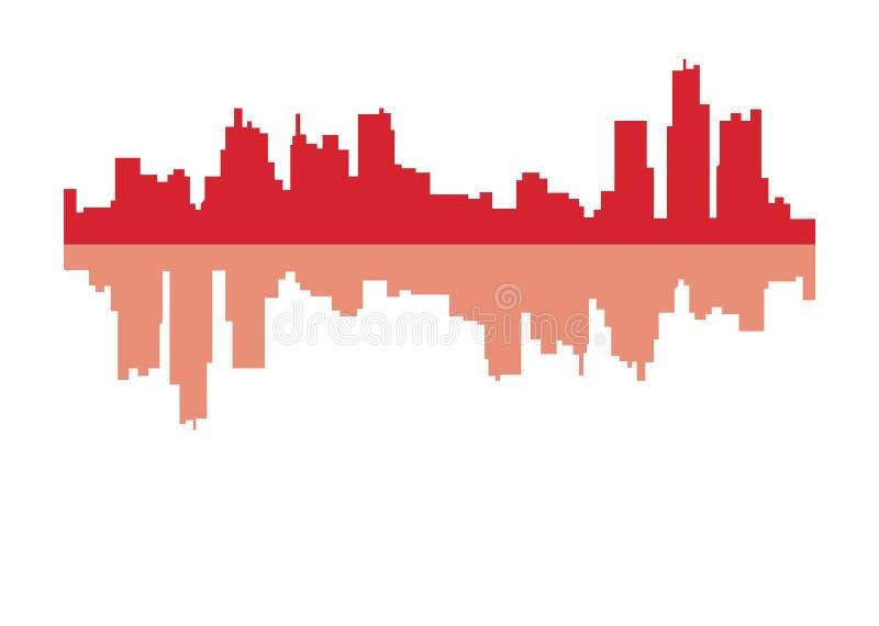Schattenbild von Detroit-Stadt lizenzfreie abbildung