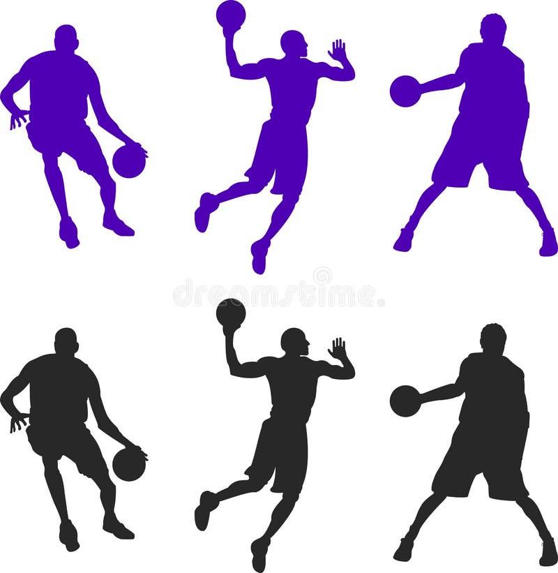 Schattenbild von drei Basketball-Spielern Vektor setillustration vektor abbildung