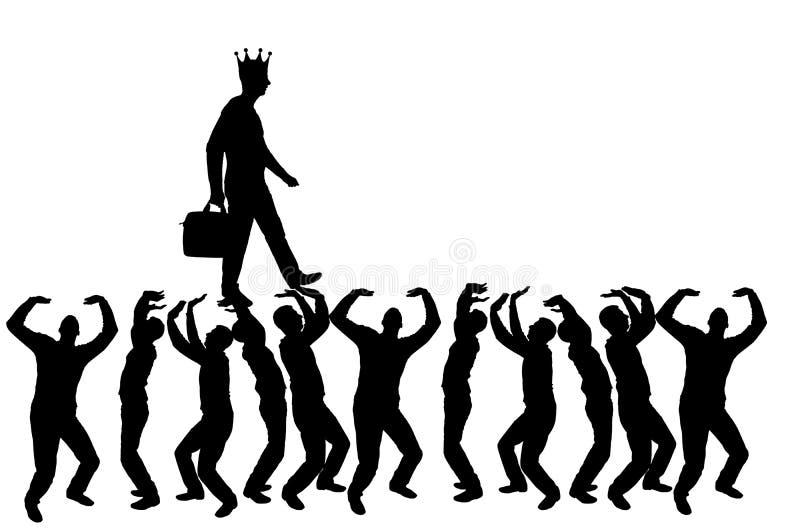 Schattenbild von gehen egoistischer und narzisstischer Mann mit einer Krone auf seinem Kopf auf den Händen der Menge stock abbildung