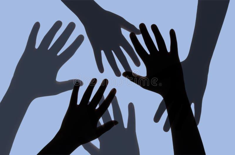 Schattenbild von Händen mit dem tiefen Blau gefiltert vektor abbildung
